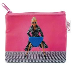 Doll on Chair Zip Purse