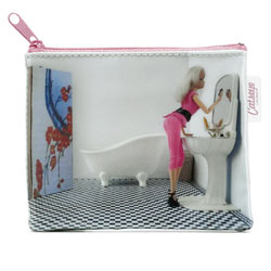 Doll in Bathroom Zip Purse