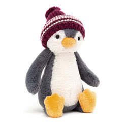 Bashful Bobble Hat Penguin Burgundy