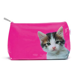 Kitten on Hot Pink Wash Bag