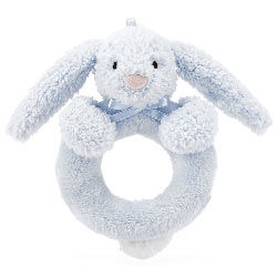 Bashful Blue Bunny Ring Rattle