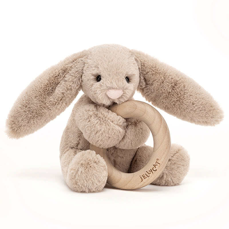 JellycatBashful Beige Bunny Wooden Ring Toy