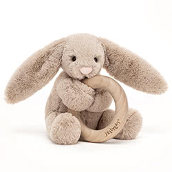 Bashful Beige Bunny Wooden Ring Toy