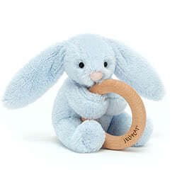 Bashful Blue Bunny Wooden Ring