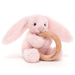 Bashful Pink Bunny Wooden Ring