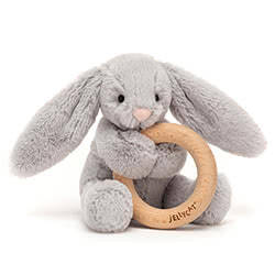 Bashful Silver Bunny Wooden Ring