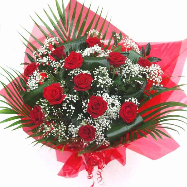 Flower Delivery Red Roses and Gypsophila