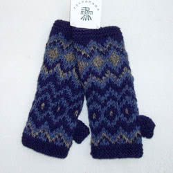Retro Blue Wrist Warmers