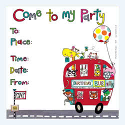 Birthday Bus Party Invitation