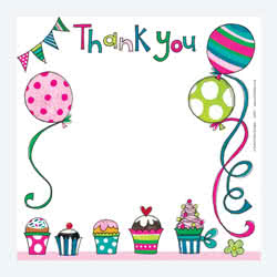 Cakes and Balloons Thank You Card