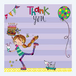 Girl on Roller Blades Thank You Card