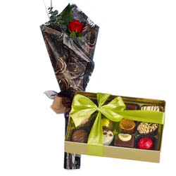 Belgian Chocolates and Red Rose